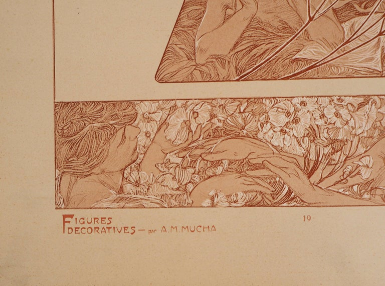 Spring : Women and Flower Blossom - Lithograph 1902 - Art Nouveau Print by Alphonse Mucha