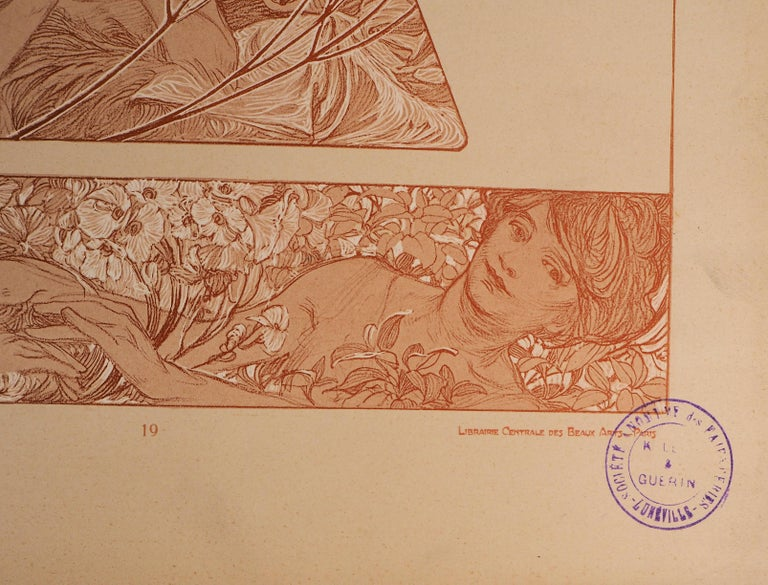 Spring : Women and Flower Blossom - Lithograph 1902 - Beige Figurative Print by Alphonse Mucha