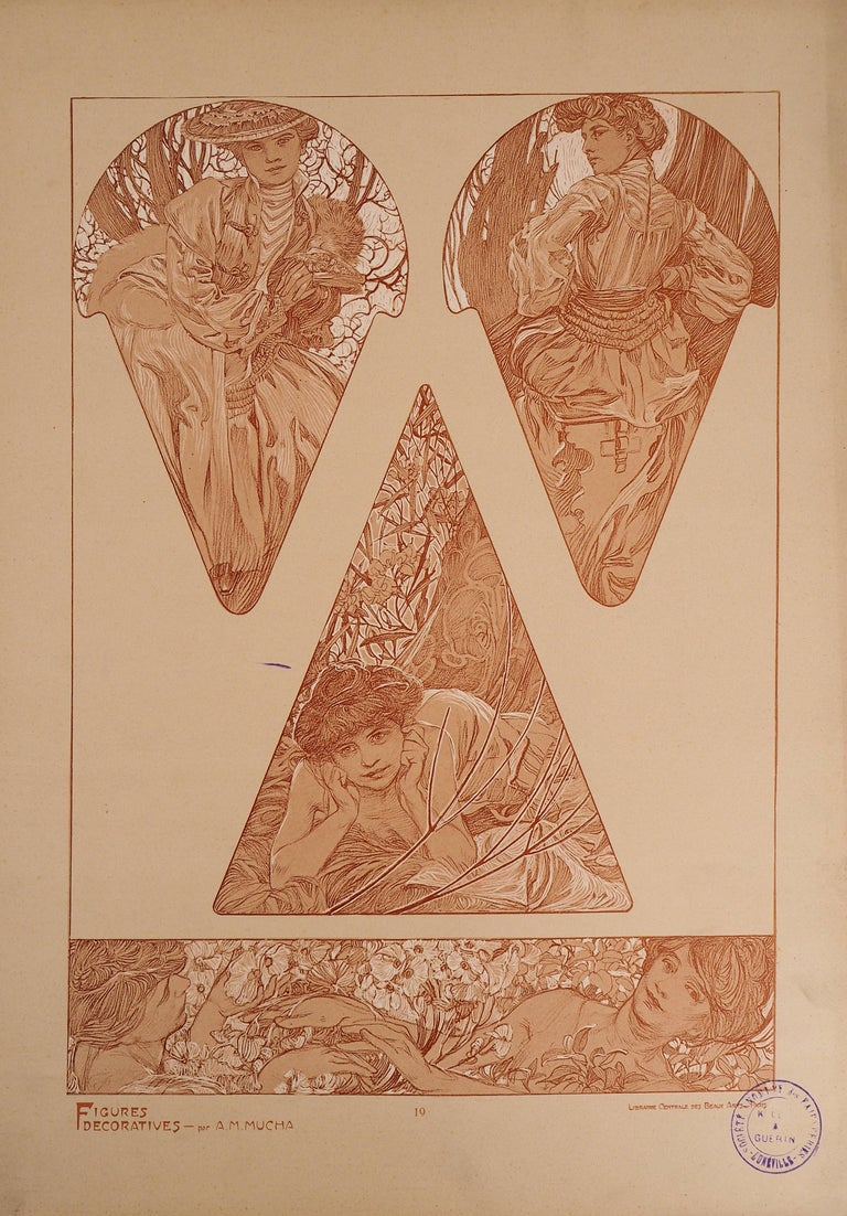 Alphonse Mucha Figurative Print - Spring : Women and Flower Blossom - Lithograph 1902