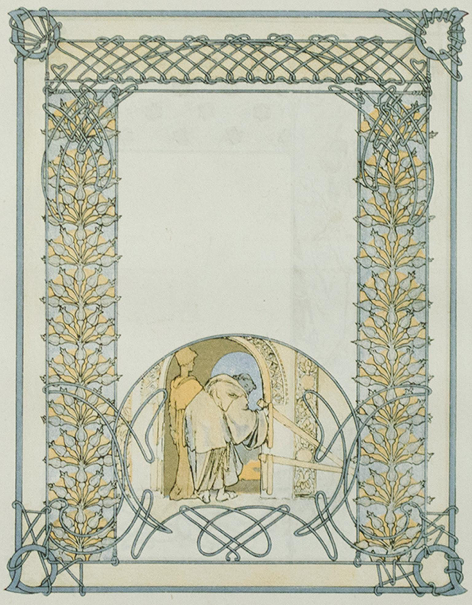 """""""Student and Teacher"""" & """"Jaufre in Nature,"""" Double-sided Litho by Alphonse Mucha"""