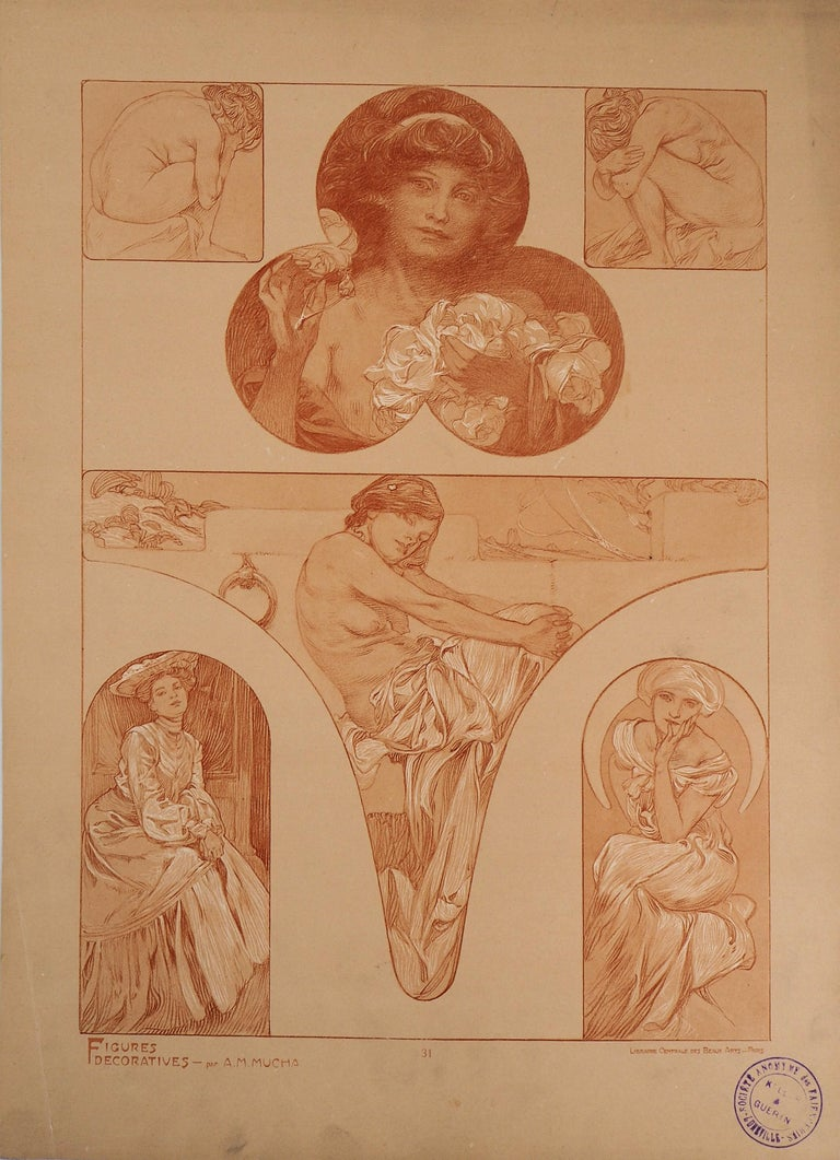The models - Lithograph 1902 - Print by Alphonse Mucha