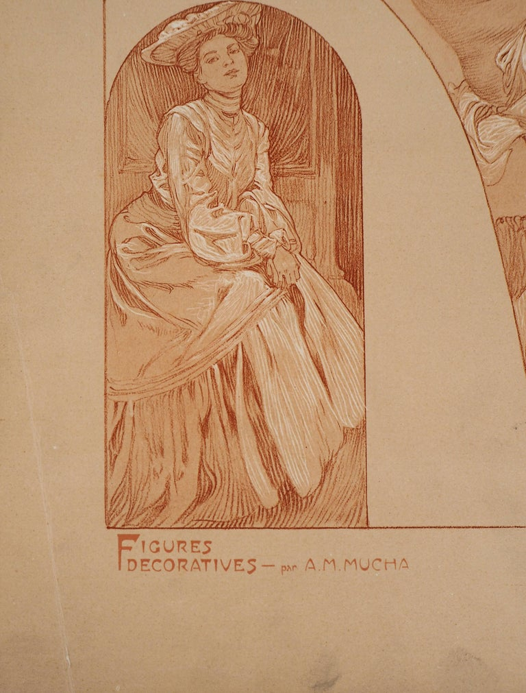 The models - Lithograph 1902 - Brown Figurative Print by Alphonse Mucha
