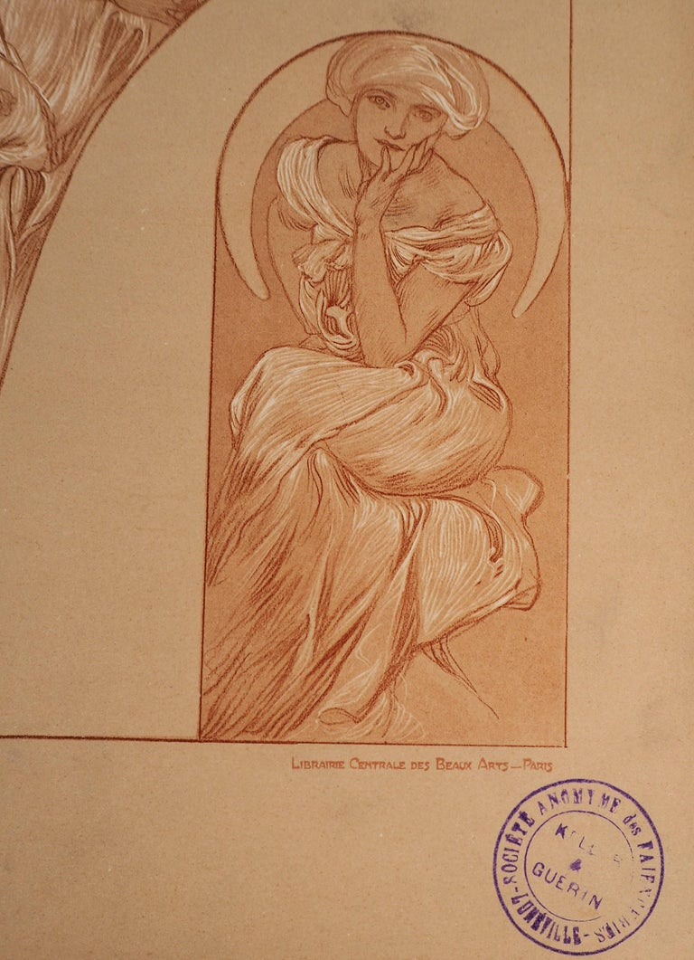 Alphonse MUCHA The models  Lithograph Printed signature bottom left On heavy paper 45.5 x 33 cm (c. 18 x 13 inch) Plate n°31 of the portfolio Figures Decoratives published by La Librairie Centrale des Beaux-Arts, published in 1902. Bearing the stamp