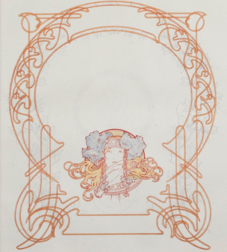 """""""Title Page"""" and """"Art Nouveau Motif"""" are two sides of one double-sided original lithograph by Art Nouveau master Alphonse Mucha. These illustrations were from """"Ilsee, Princess of Tripoli,"""" published in 1897. These pages feature a portrait of the"""