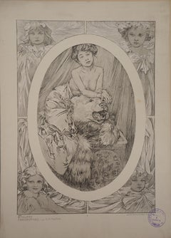 Young Woman with a Bear - Lithograph 1902