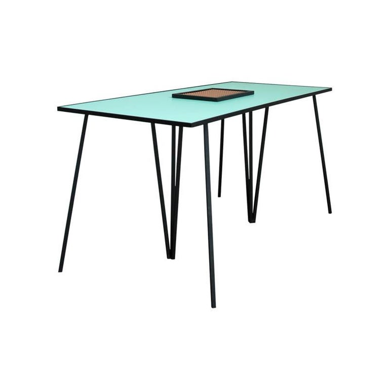 The Alpina minimalist dining table is part of a collection that indagates on the capacity of a matrix to mutate in order to conceive formal pieces of furniture. The table operates on this matrix with a series of simple operations –trim, rotate,