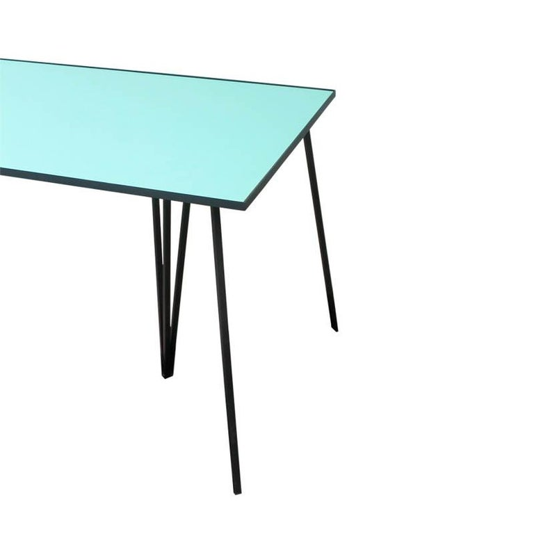 Argentine Alpina Minimalist Dining table with Steel Legs and Formica Top by Ries For Sale
