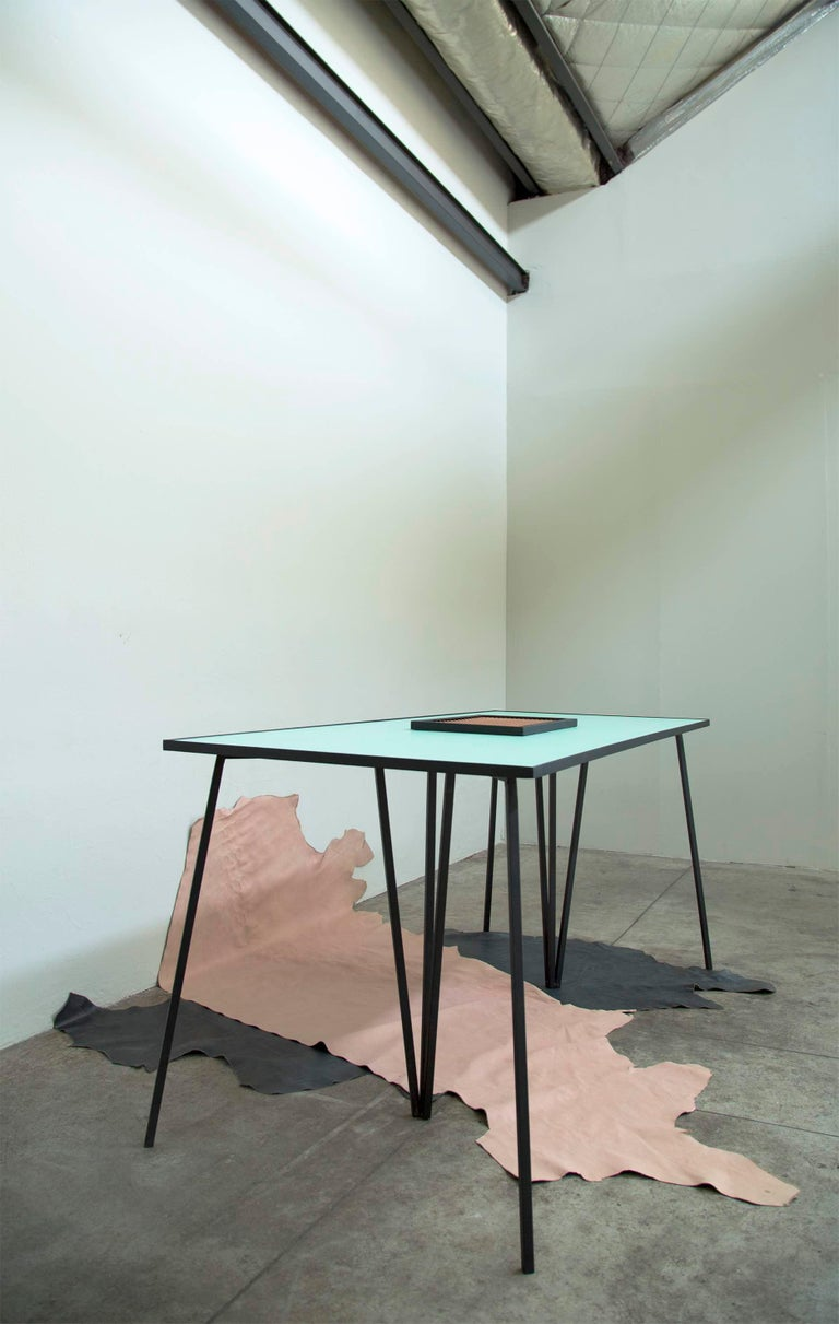 Powder-Coated Alpina Minimalist Dining table with Steel Legs and Formica Top by Ries For Sale