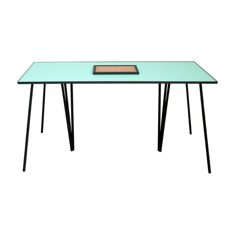 Alpina Minimalist Dining table with Steel Legs and Formica Top by Ries For Sale