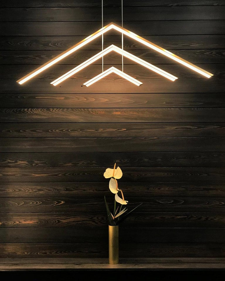 Welded Alpine APC60, Black Contemporary Geometric Modern Led Chandelier Light Fixture For Sale