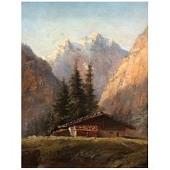 Alpine Landscape, Austrian Romantic O/C Painting, Ca. 1910