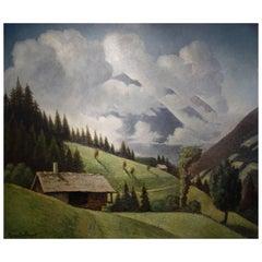 Alpine Landscape Painting by Paul Dubreuil