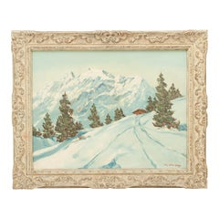 Alpine Mountain Scene Oil on Canvas by M. Strasky, 'Grossvenediger'