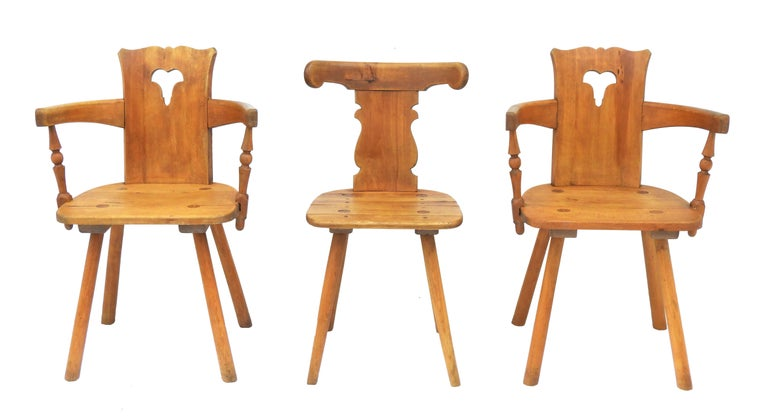 Rustic Alpine Six Dining Chairs Midcentury Two Carvers Four Chairs and a Stool