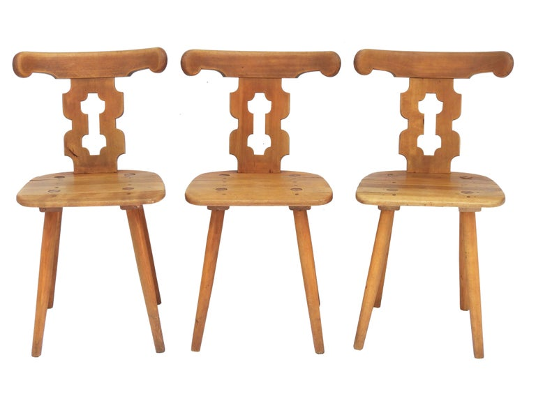 French Alpine Six Dining Chairs Midcentury Two Carvers Four Chairs and a Stool