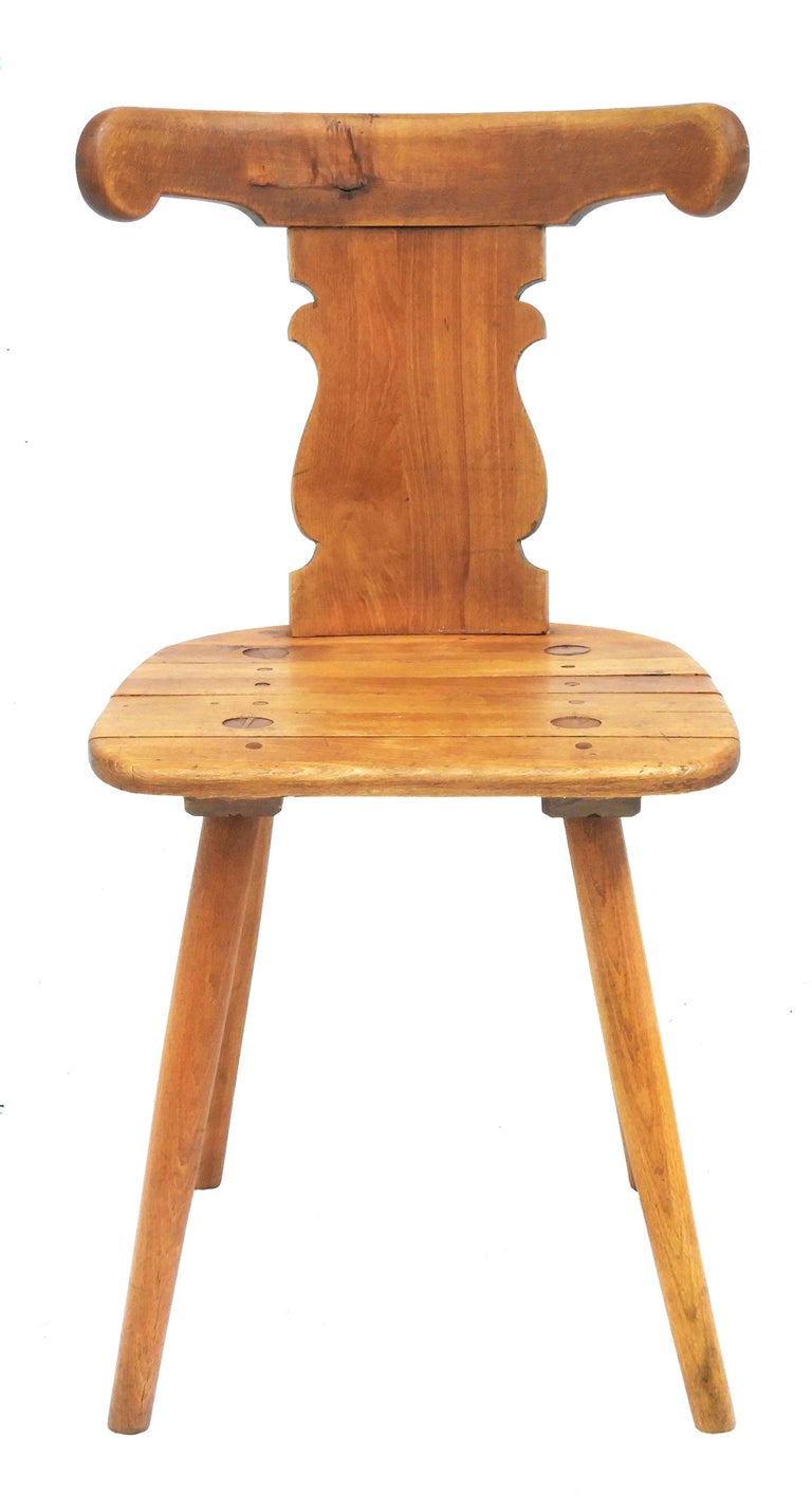 20th Century Alpine Six Dining Chairs Midcentury Two Carvers Four Chairs and a Stool