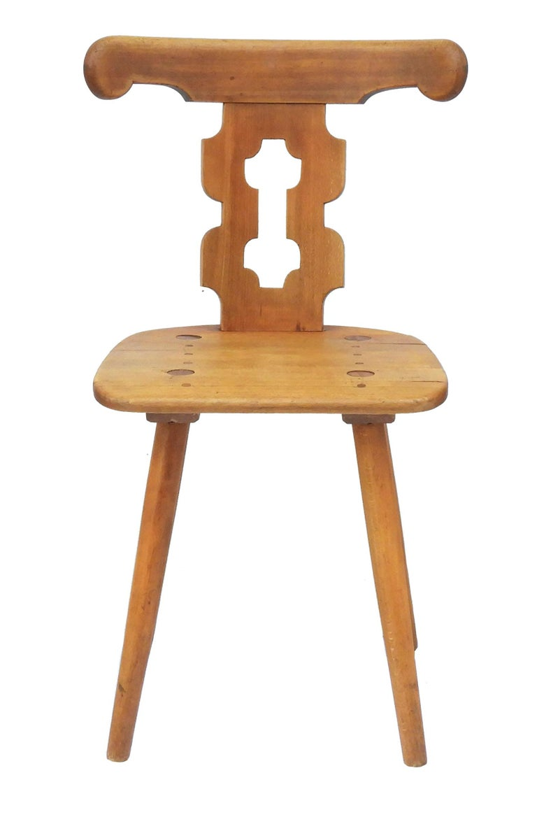 Beech Alpine Six Dining Chairs Midcentury Two Carvers Four Chairs and a Stool