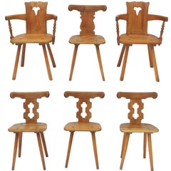 Alpine Six Dining Chairs Midcentury Two Carvers Four Chairs and a Stool