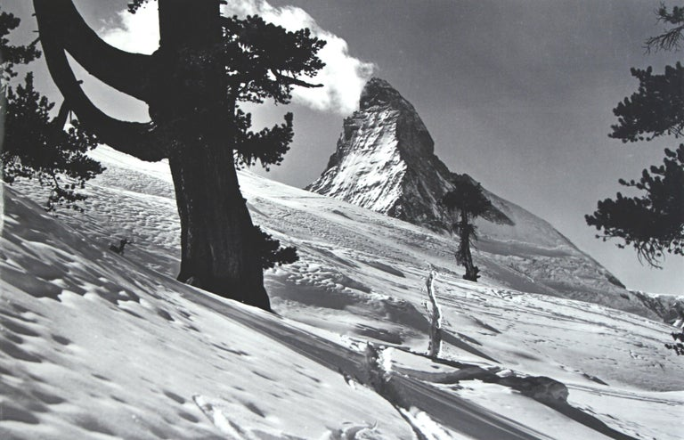 Alpine ski photograph. 'Matterhorn', a new mounted black and white photographic image after an original 1930s skiing photograph. Black and white alpine photos are the perfect addition to any home or ski lodge, so please do check out our other ski