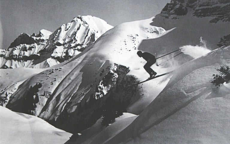 Vintage, Alpine Ski photograph. 'THE JUMP', a new mounted black and white photographic image after an original 1930s skiing photograph. Prior to being a recreational activity skiing was purely a means of travelling from A to B through the snow, it