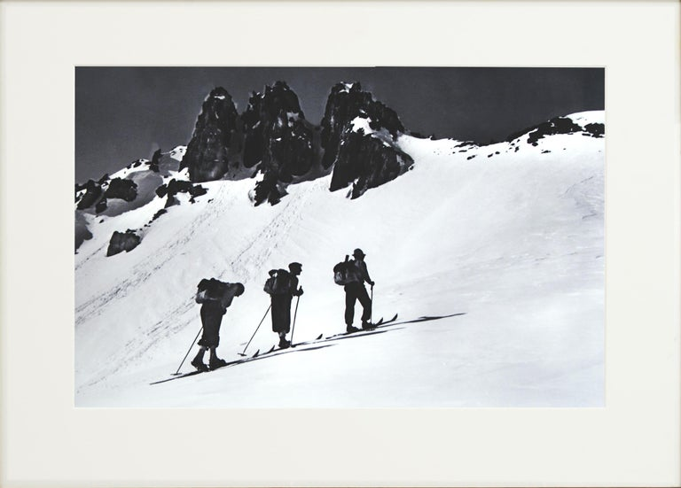 Vintage, Alpine Ski Photograph. 'Three Peaks', a new mounted black and white photographic image after an original 1930s skiing photograph. Black and white alpine photos are the perfect addition to any home or ski lodge, so please do check out our