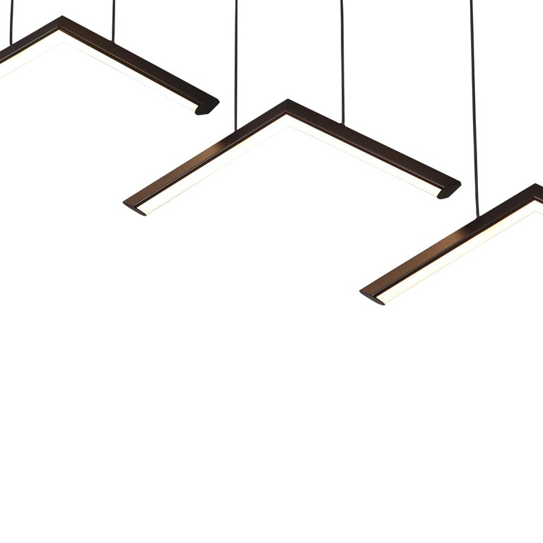 American ALPINE V - Black Geometric Modern LED Linear Chandelier Light Fixture For Sale