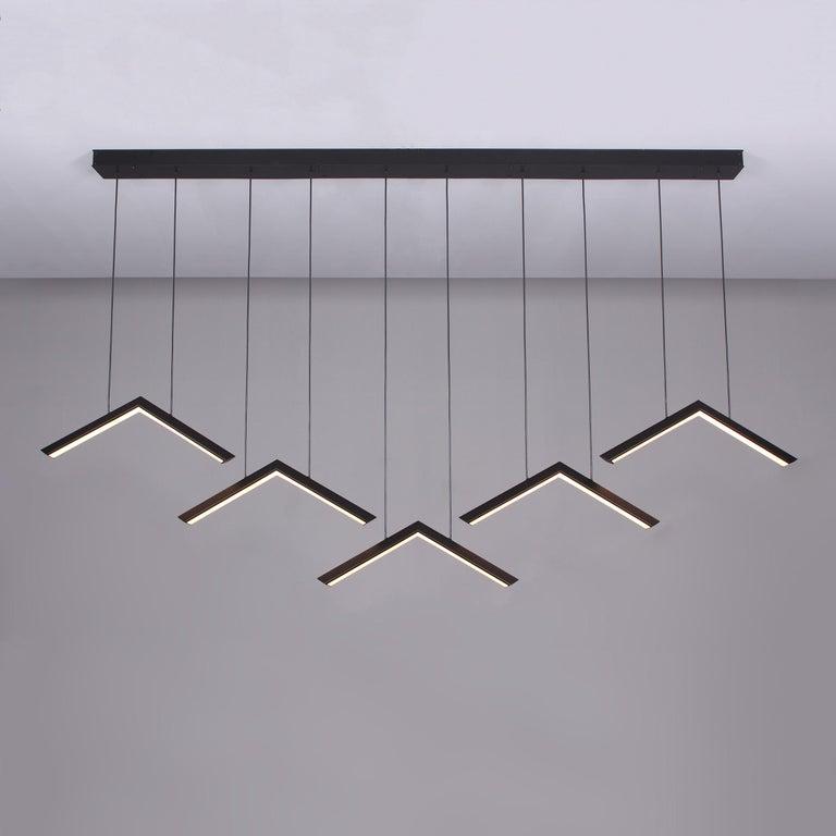 Faceted ALPINE V - Black Geometric Modern LED Linear Chandelier Light Fixture For Sale