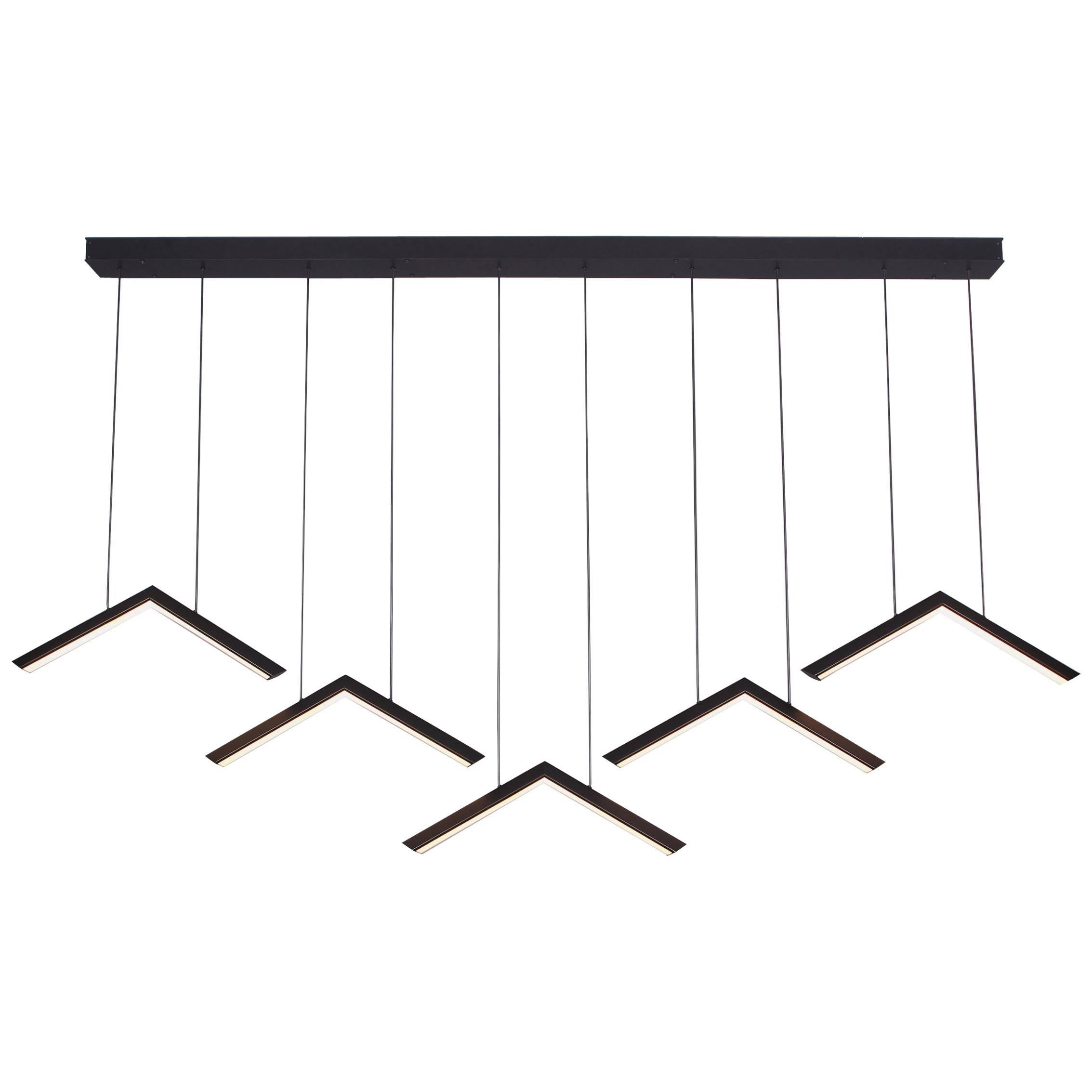 ALPINE V - Black Geometric Modern LED Linear Chandelier Light Fixture