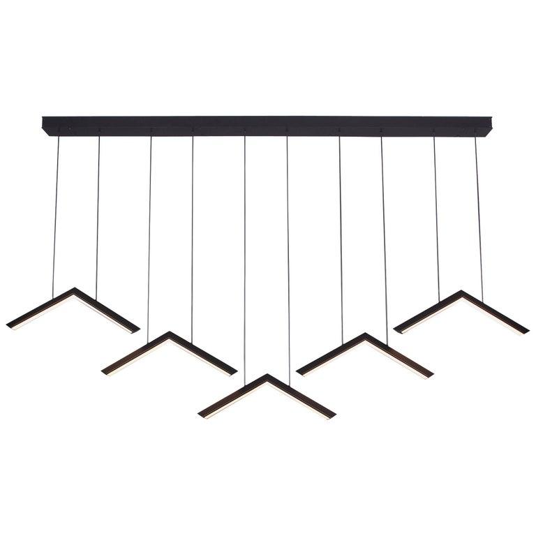 ALPINE V - Black Geometric Modern LED Linear Chandelier Light Fixture For Sale