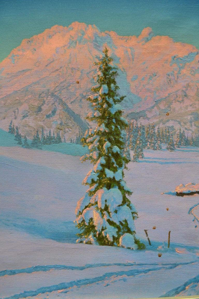 Art Deco Alpine Winter Scene by Austrian Artist Friedrich Albin Koko-Mikoletzky For Sale