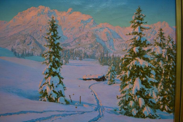 Alpine Winter Scene by Austrian Artist Friedrich Albin Koko-Mikoletzky In Good Condition For Sale In Vancouver, British Columbia