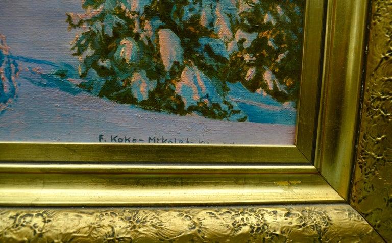 Painted Alpine Winter Scene by Austrian Artist Friedrich Albin Koko-Mikoletzky For Sale