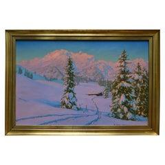 Alpine Winter Scene by Austrian Artist Friedrich Albin Koko-Mikoletzky