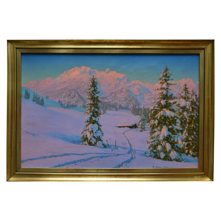 Alpine Winter Scene by Austrian Artist Friedrich Albin Koko-Mikoletzky For Sale