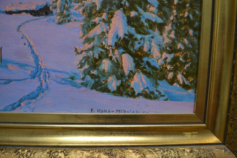 Early 20th century oil painting on canvas of the Austrian alps by Friedrich Albin Koko Mikoletzky (born in Austria 1887 died 1981.) Signed F. Koko Mikoletzky at the bottom right hand corner of the canvas. In its original gilt frame.