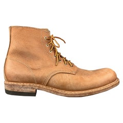 AL'S ATTIRE Size 12 Tan Leather Lace Up Handmade Work Boots