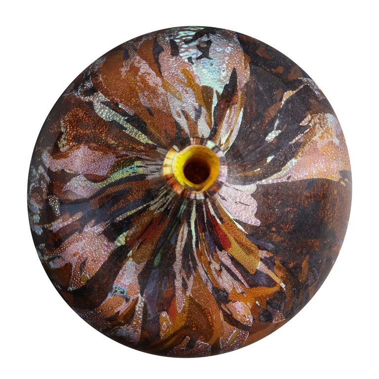 Modern Also Nason Handblown Glass Vase with Silver and Gold Foil, 1960s For Sale