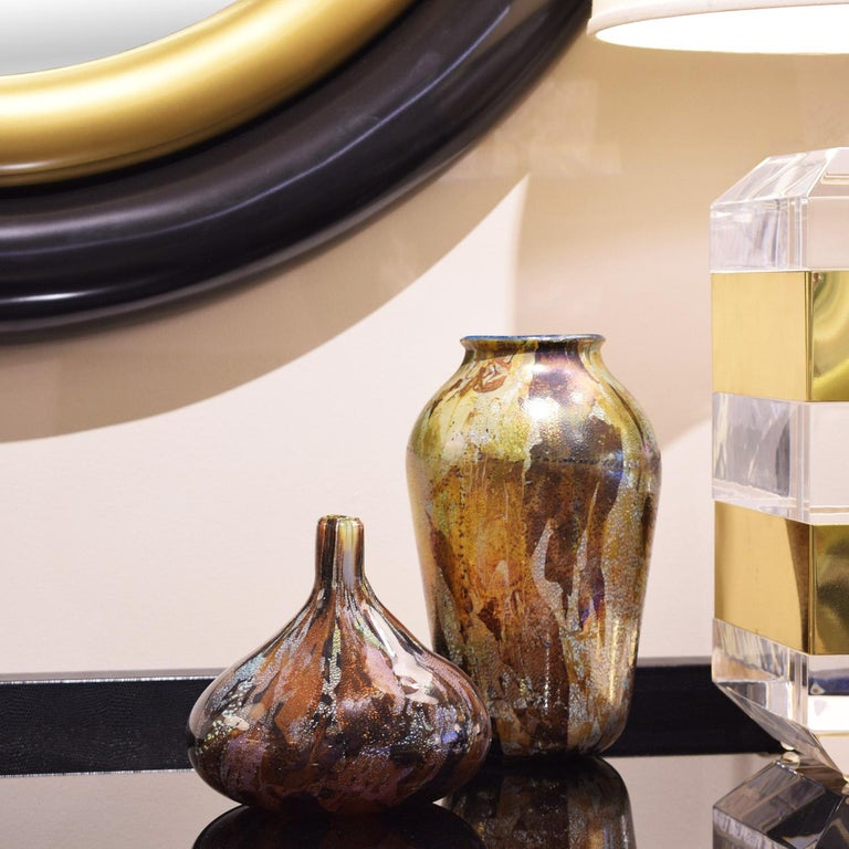 Also Nason Handblown Glass Vase with Silver and Gold Foil, 1960s In Excellent Condition For Sale In New York, NY