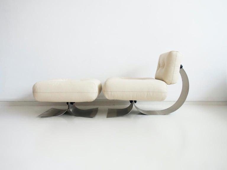 Steel Alta Lounge Chair and Ottoman by Oscar Niemeyer