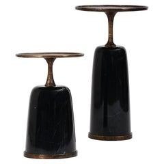 Altai Tall Cast Bronze and Black Marquina Marble Side Table by Elan Atelier