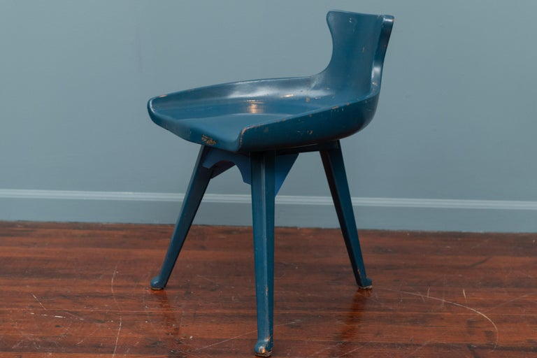 Unusual Folk Art chair by Altamira, Italy. Painted blue at some point with added leg supports but charming nonetheless.