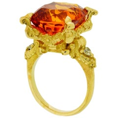 Altar of Psyche Ring in 18kt Gold with Concave Cut 14.81ct Citrine and Diamonds