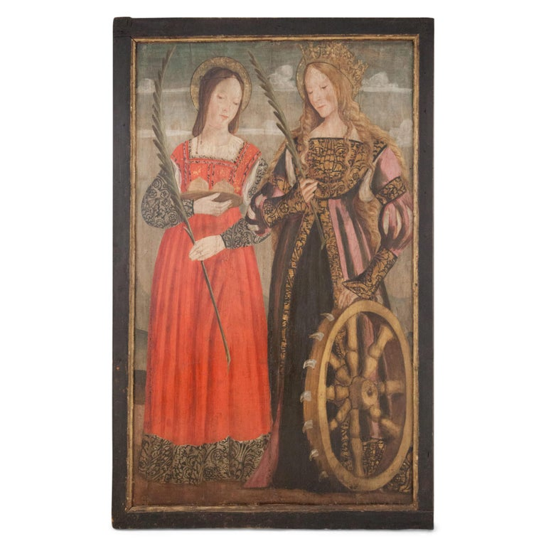 Wood Altar Retable Depicting Mary, Catherine and Agatha, 16th Century For Sale