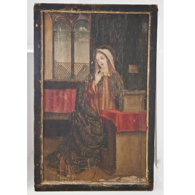 Altar Retable Depicting Mary, Catherine and Agatha, 16th Century For Sale 1