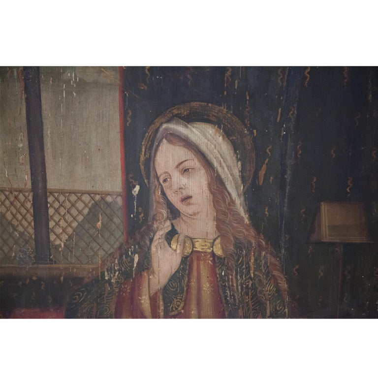 Altar Retable Depicting Mary, Catherine and Agatha, 16th Century For Sale 2
