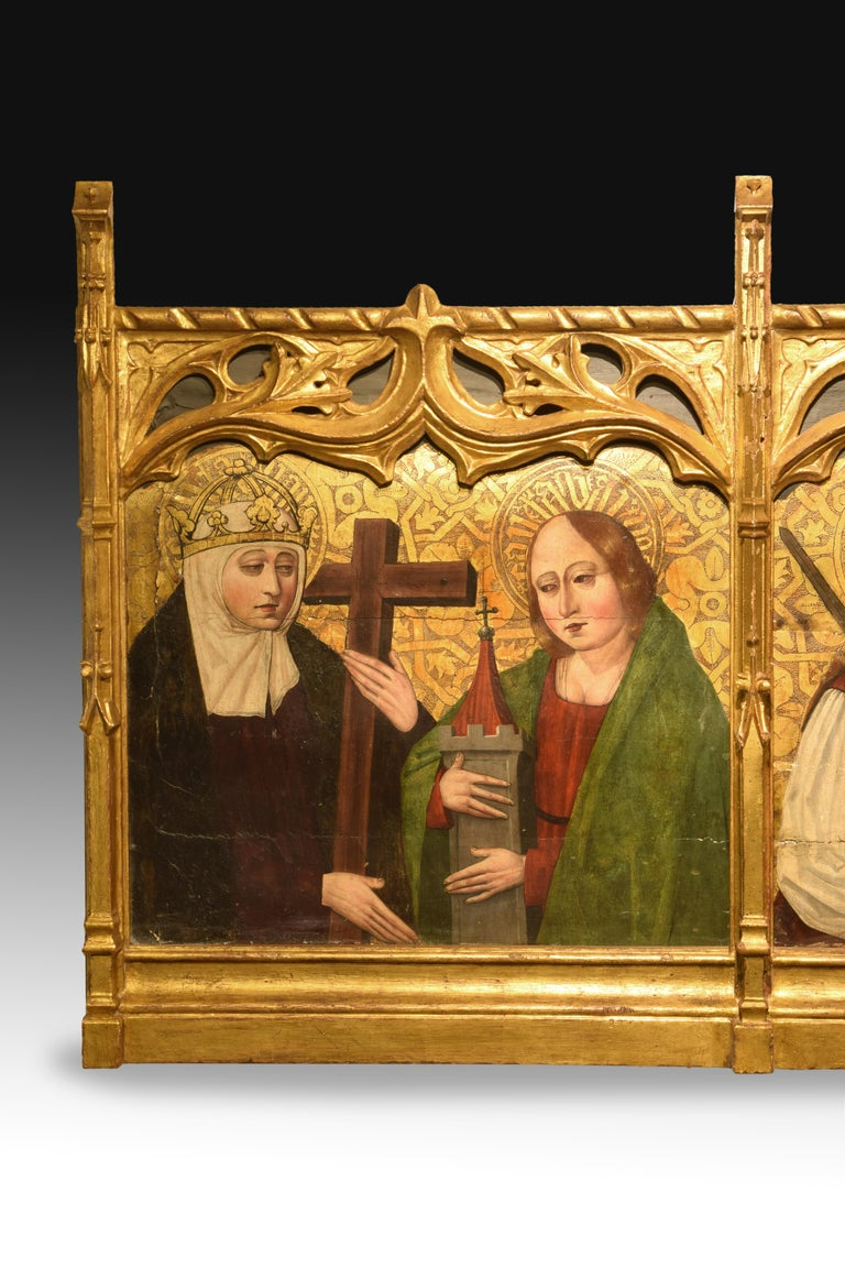 Predela with santas. Oil on board, carved wood. Spanish school, 16th century. 