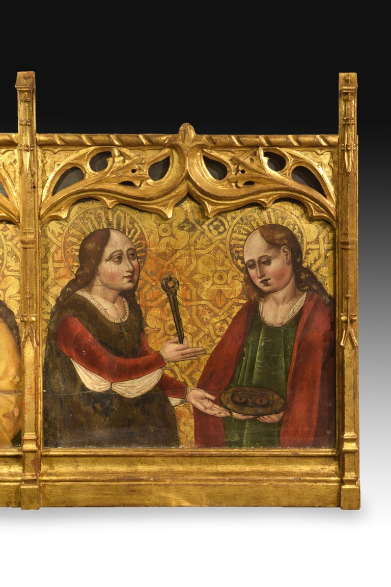 Gothic Altarpiece Fragment with Saints, Spanish School, 16th Century For Sale