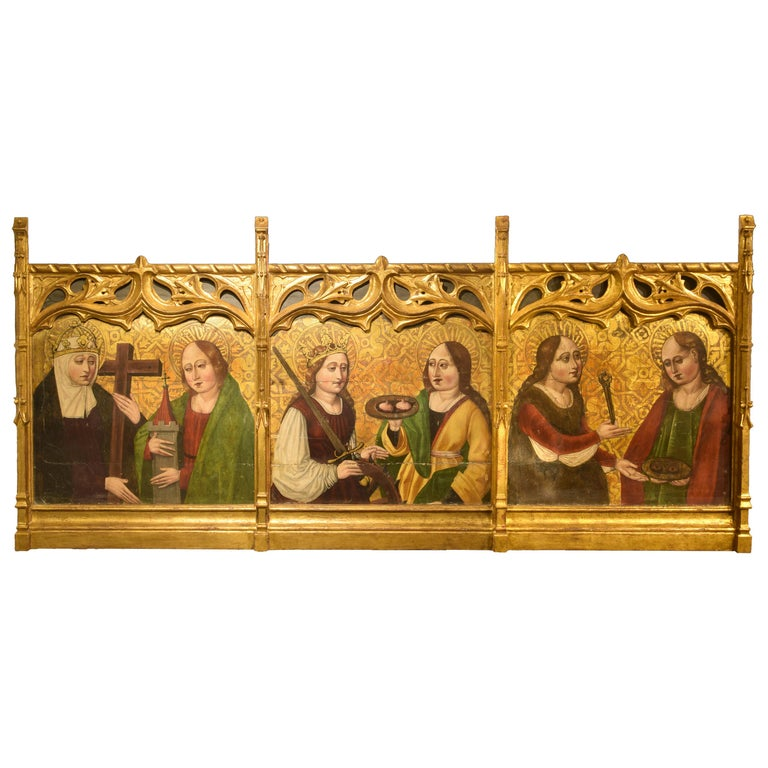 Altarpiece Fragment with Saints, Spanish School, 16th Century For Sale