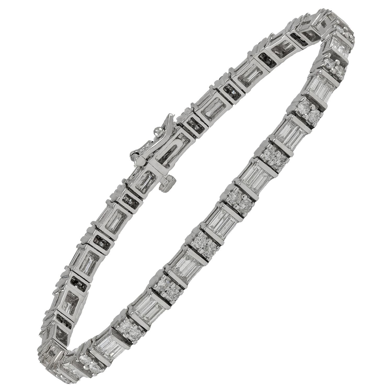 Alternating Baguette and Round Diamond 7.0 Carat Tennis Bracelet