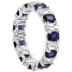 Alternating Blue Sapphire and Diamond Eternity Wedding Band